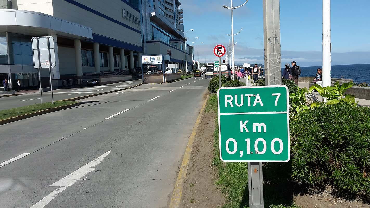 Das Ende der Ruta 7 (Carretera Austral) in Puerto Montt