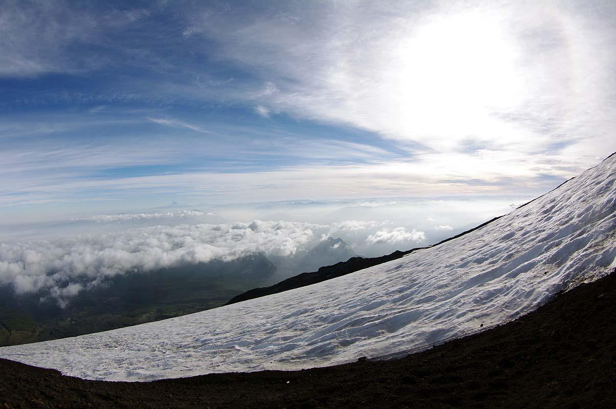 Panorma beim Aufstieg auf Vulkan Villarrica