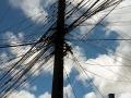 Strom/Telefonleitungen in Punta Arenas, alles klar oder? Funktionieren tuts!